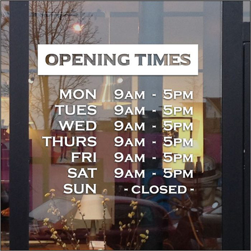 Customized Opening Times